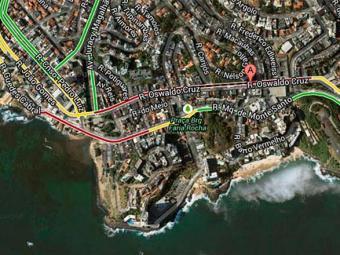 No Rio Vermelho, tráfego de veículos é intenso até a região do Largo da Mariquita - Foto: Google Maps   Reprodução