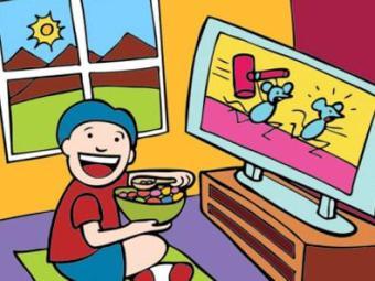 Muito tempo diante da tv é sinônimo de pouca atividade e muitas guloseimas - Foto: Divulgação