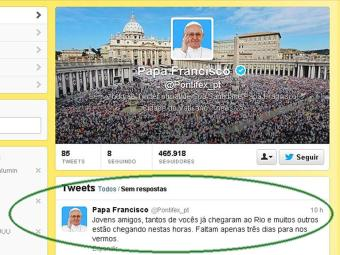 Pontífice posta mensagem no Twitter aos brasileiros - Foto: Reprodução | Twitter