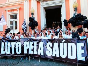 Médicos realizaram um protesto no Terreiro de Jesus no último dia 16 - Foto: Divulgação | Cremeb