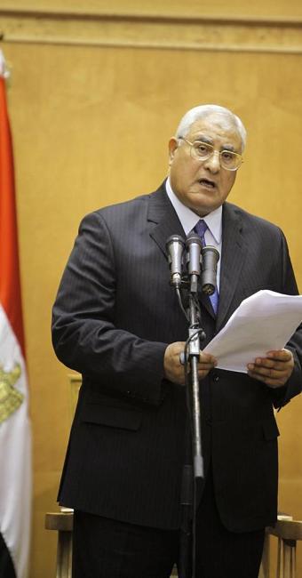 Mansour durante cerimônia de posse - Foto: Amr Nabil   AP Photo
