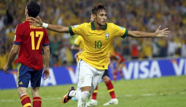 Gol de Neymar marcado contra a Espanha concorre ao gol mais bonito da competição - Foto: Marcos Brindicci / Agência Reuters