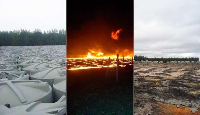 As cisternas eram de material inflamável e apenas 70 resistiram ao incêndio - Foto: Blog do Vandinho Maracás