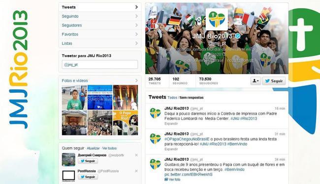 Na conta da JMJ 2013 no Twitter, internautas escrevem sobre o papa - Foto: Reprodução | Twitter