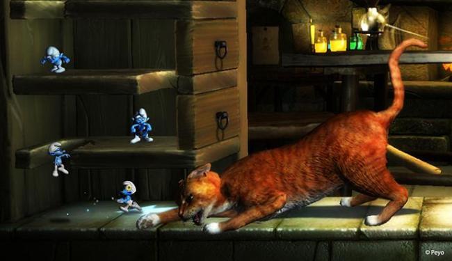 Os Smurfs vão enfrentar inimigos como o gato Cruel - Foto: Divulgação