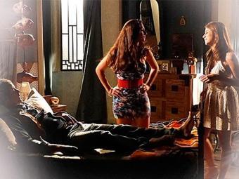 Marcina pega Rosalice no quarto de Gibão e quer saber se ele transou com ela - Foto: TV Globo | Divulgação