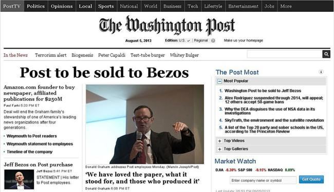 Site do jornal anuncia a venda do Post - Foto: Reprodução