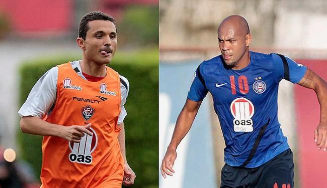 Camacho (Vitória) e Souza (Bahia), iniciam pela primeira vez uma partida como titular no Brasileirão - Foto: Eduardo Martins l Ag. A TARDE