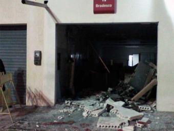 Agência ficou destruída com explosão em Itatim - Foto: Reprodução| PM