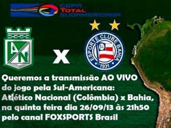 Mesmo com a campanha da torcida tricolor, o jogo do Bahia pela Sul-Americana não será transmitido - Foto: Reprodução