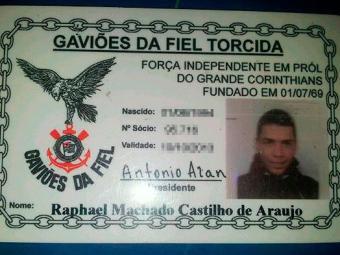 Carteira de organizada a que Raphael pertence - Foto: Ascom   Polícia Militar