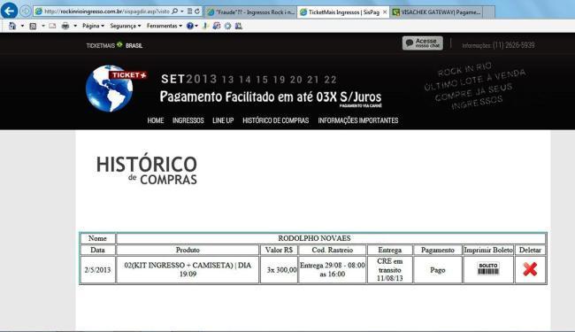 Site mostrava data de entrega dos ingressos para os compradores - Foto: Reprodução | Rodolpho Novaes