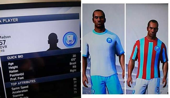 Azul claro é a cor que predomina no escudo e uniformes não-oficiais do Bahia no game - Foto: Bruno Porciuncula | Ag. A TARDE