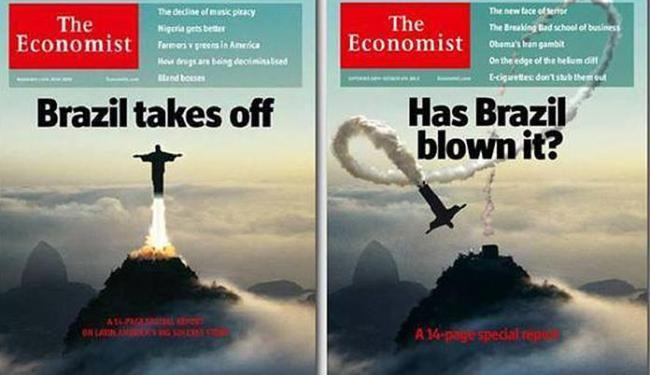 Capas da Economist: a primeira exalta e a mais recente, critica - Foto: Reprodução