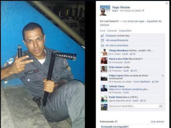 A foto foi registrada no Arco da Lapa, após confronto entre policiais e manifestantes - Foto: Reprodução | Facebook