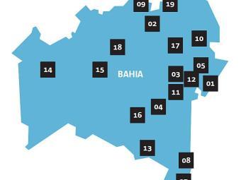 Mapa da Bahia, distritos que podem ser emancipados - Foto: Editoria de Arte