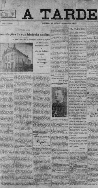 Capa do primeiro Jornal A TARDE, publicado em 15 de outubro de 1912 - Foto: Reprodução | Ag. A TARDE