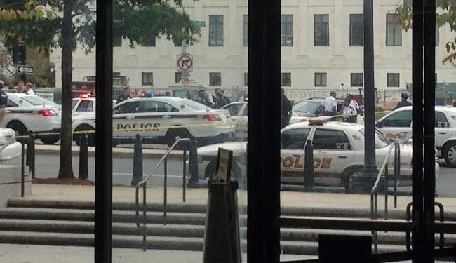 Viaturas cercam o prédio do Senado americano após suspeita de tiroteio - Foto: David Lawder | Agência Reuters