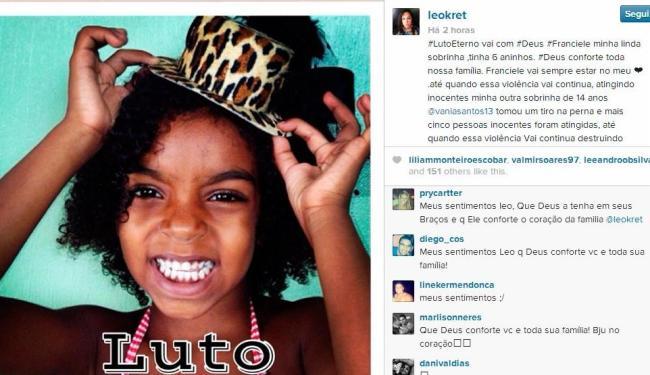 Franciele Santos, de 6 anos, é sobrinha da ex-vereadora de Salvador Léo Kret - Foto: Reprodução | Instagram