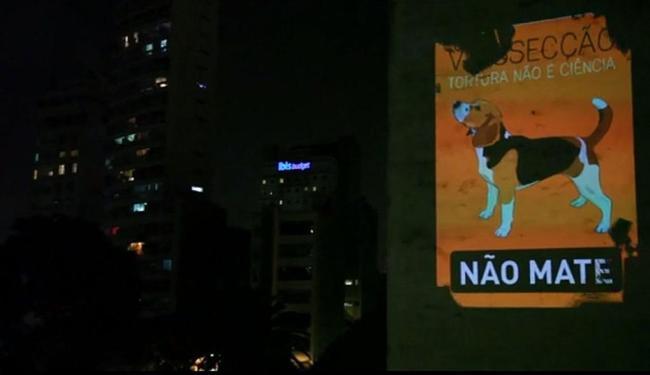 ONG Não Mate fez projeção para apoiar causa dos beagles - Foto: Reprodução | Ag. A TARDE