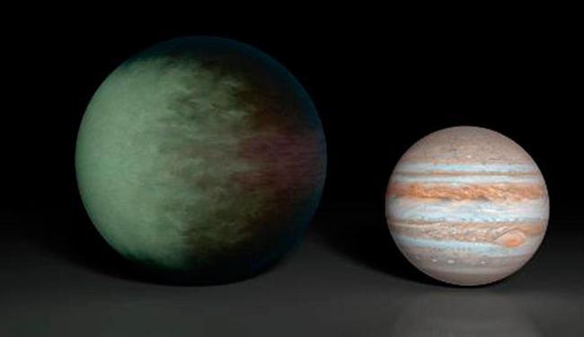 Ilustração da Nasa mostra o exoplaneta Kepler ao lado de Júpiter - Foto: AFP