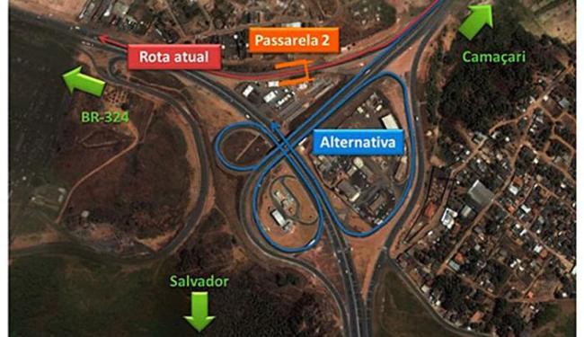 Confira a rota alternativa para os motoristas que seguem da Via Parafuso em direção à BR-324 - Foto: Divulgação   Bahia Norte