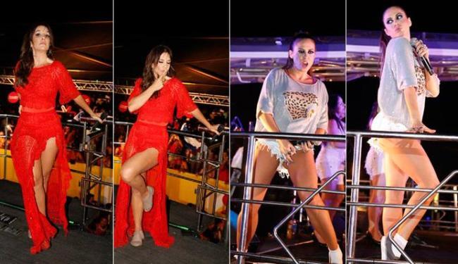 Ivete e Alinne mostraram que podem exibir as belas pernas em cima do trio - Foto: Fred Pontes | Divulgação
