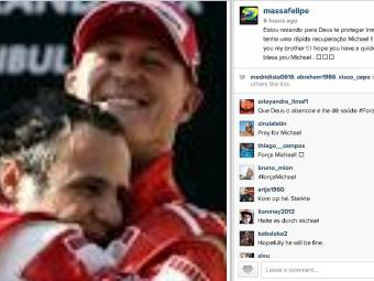Brasileiro postou foto com Schumacher e mensagem de apoio - Foto: Reprodução