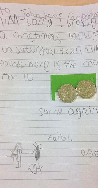 Menina assina Faith e inclui moedas para pagar o prejuízo - Foto: Reprodução | Twitter