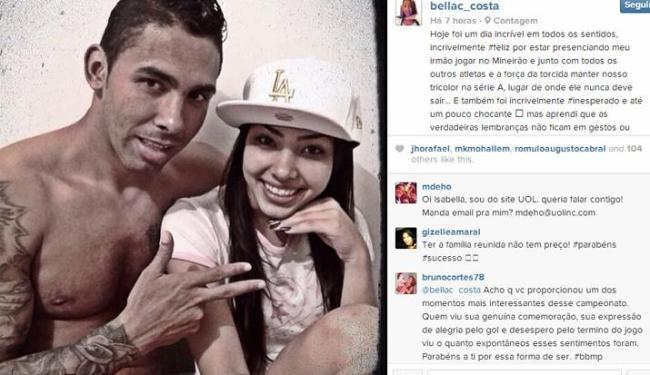Isabella Costa, irmã do zagueiro do Bahia Démerson, já está sendo assediada nas redes sociais - Foto: Reprodução   Instagram