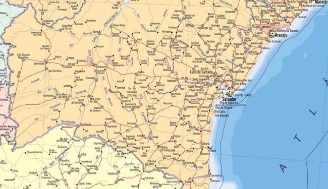 No destaque, mapa político da Bahia - Foto: Reprodução