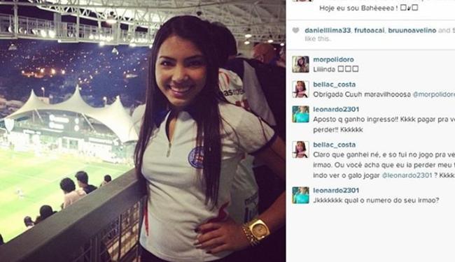 Irmã do zagueiro Demerson costuma ir aos jogos do Bahia em Minas e agora vai conhecer a Fonte Nova - Foto: Instagram   Reprodução