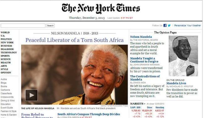 The New York Times classificou Mandela como