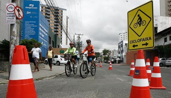 A inauguração da nova ciclofaixa ocorreu em frente ao Parque da Cidade - Foto: Luciano da Matta | Ag. A TARDE
