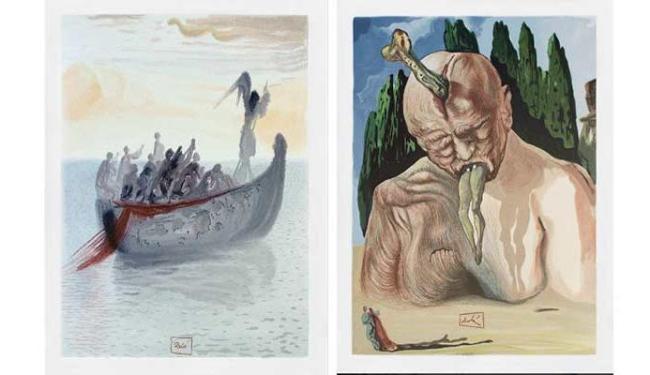 Gravuras de Dalí representam os poemas da obra A Divina Comédia, de Dante - Foto: Divulgação