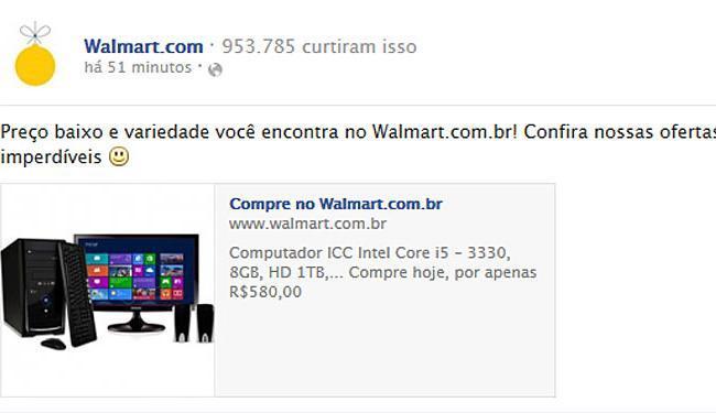 Anúncio com valor errado feito pela Walmart - Foto: Reprodução