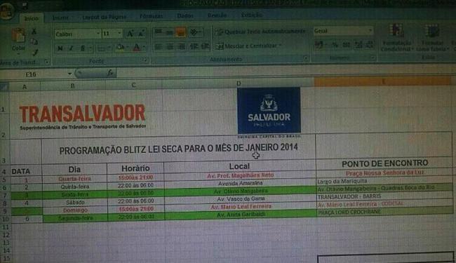 Reprodução de tela de computador com supostos locais de blitze em Salvador - Foto: Reprodução | Facebook