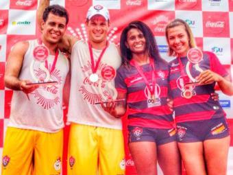 Mateus e Lucas, Many e Naty: dobradinha rubro-negra na terceira etapa do Baianão de futevôlei - Foto: Esporte Clube Vitória | Divulgação