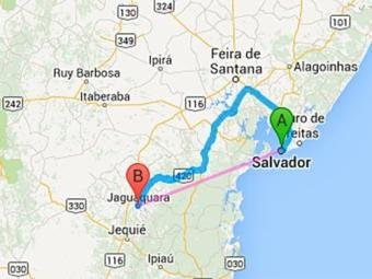 A cidade de Jaguaquara fica a 247 Km de Salvador - Foto: Google Maps   Reprodução