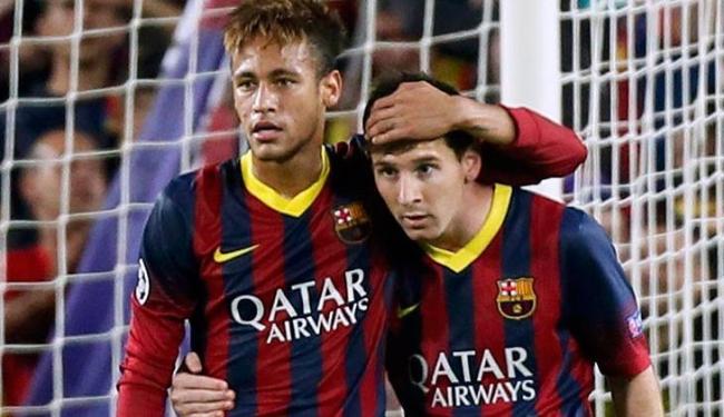 Messi escolheu Neymar como 3º melhor jogador do mundo em 2013, atrás de Xavi e Iniesta - Foto: Gustau Nacarino | Agência Reuters