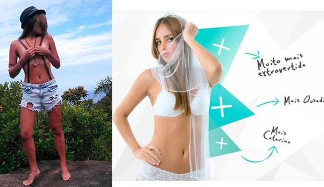 Catarina posou de topless no site do programa para animar os candidatos - Foto: Reprodução