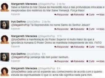 Discussão entre Margareth Menezes e seguidora no Twitter - Foto: Reprodução | Twitter
