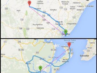 Nos mapas: A cidade de Ourolândia (acima) e a estrada entre Bom Despacho e Jaguaripe - Foto: Reprodução | Google Maps