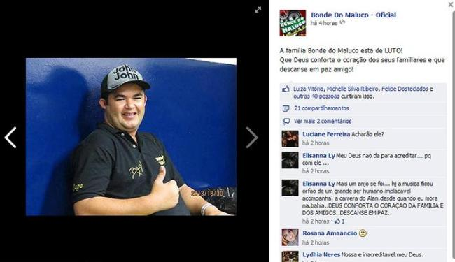 A banda lamentou a morte do músico na página do Facebook - Foto: Reprodução l Facebook
