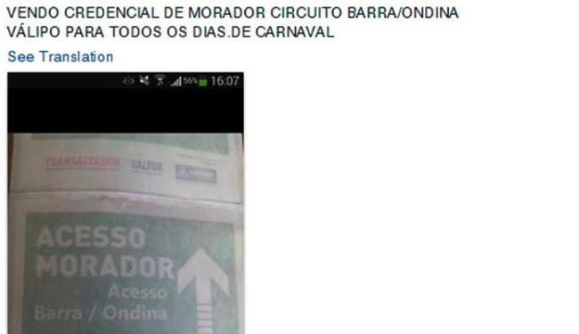 Credencial deveria ser de uso exclusivo de moradores dos circuitos do Carnaval - Foto: Reprodução   Facebook