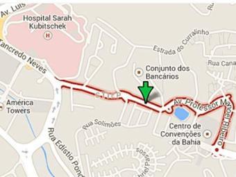 Avenida Professor Manoel Ribeiro - Trecho entre o Centro de Convêncões da Bahia e a faculdade Estáci - Foto: Reprodução | Google Maps