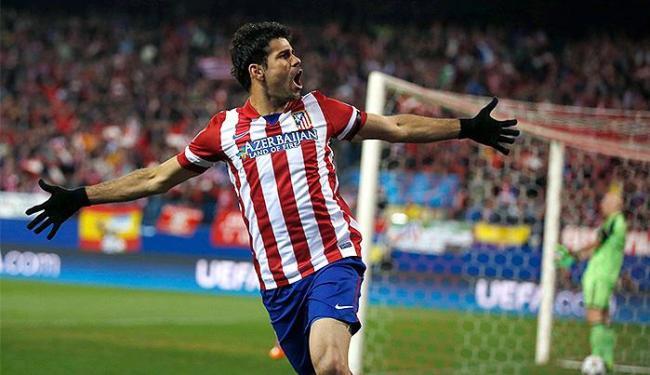 Diego Costa comemora primeiro gol do Atlético de Madri sobre o Milan - Foto: Sergio Perez l Reuters