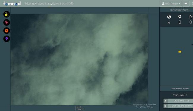 Site mostra imagens em alta-definição para usuários procurarem vestígios do jato - Foto: Reprodução