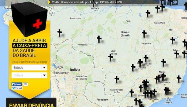 Basta clicar no mapa e enviar a denúncia - Foto: Reprodução
