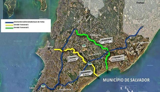 Mapa mostra localização dos corredores de tráfego - Foto: Divulgação | Manu Dias/GOVBA